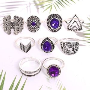 *MARGOT* 9-Pc Silver x Purple Gem Fashion Ring Set